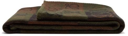 Loewe Anagram Patch Wool Blanket - Beige Multi