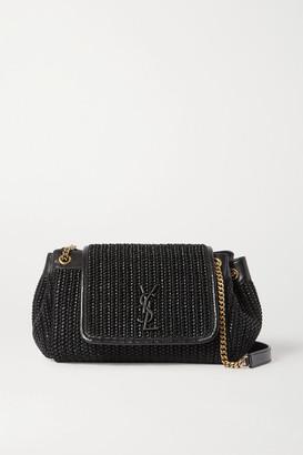 Saint Laurent Nolita Small Raffia And Leather Shoulder Bag - Black