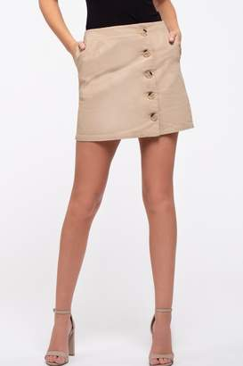 Blu Pepper Button Front Mini Skirt