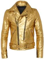 ALTIIR - Men's Neo-Classic Biker Jacket In Gold