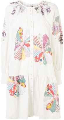 Sea Floral-Pattern Shirt Dress