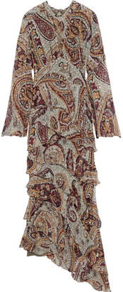 Etro Asymmetric Tiered Printed Fil Coupe Silk-blend Chiffon Maxi Dress