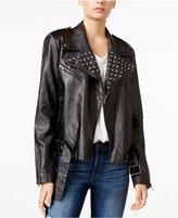 William Rast Kate Embellished Faux-Leather Moto Jacket