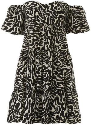 Pinko Zebra Print Off-Shoulder Mini Dress