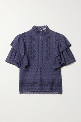 Etoile Isabel Marant Tizaina Ruffled Broderie Anglaise Cotton Blouse