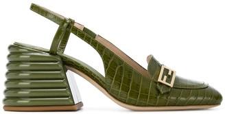 Fendi Promenade crocodile-embossed slingback loafers