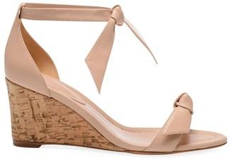 Alexandre Birman Clarita Bow Leather Wedge Sandals