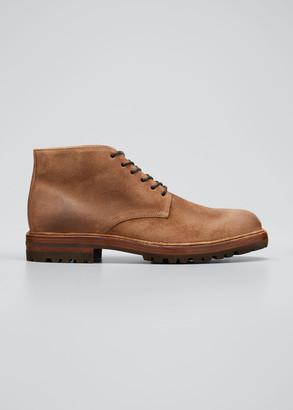Brunello Cucinelli Men's Waxed Leather Chukka Boots