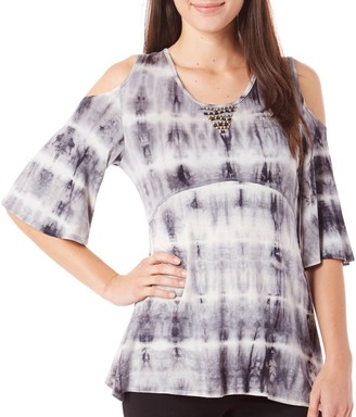 One World ONEWORLD Women's Elbow Sleeve Tie Dye Cold Shoulder Knit Top