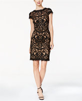 Tadashi Shoji Cap-Sleeve Embroidered Sheath Dress