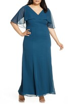Chi Chi London Curve Kelley Chiffon Capelet Gown