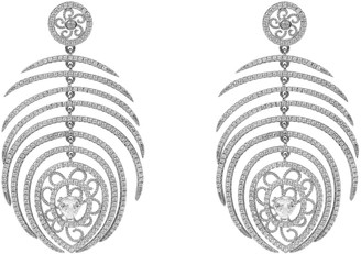 Latelita Peacock Statement Feather Earring Silver