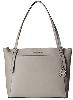 MICHAEL Michael Kors Voyager Large East/West Top Zip Tote (Pearl Grey) Tote Handbags