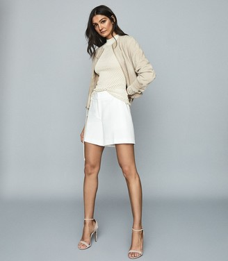 Reiss SOLENE SUEDE BOMBER JACKET Neutral