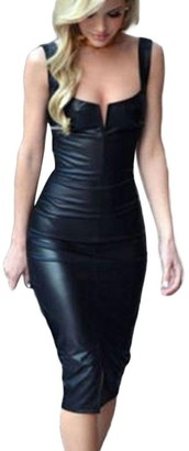 JYC Clearance Women's Leather Sexy Strap Sleeveless Cocktail Midi Bodycon Dress Pu Leather Sleeveless Bodycon Backless Party Bandage Dresses Front Zipper Night Club Leather Dress (Black X-Large)