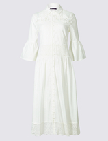 M&S Collection Pure Cotton Lace Trim Flared Shirt Dress