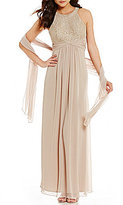 Jessica Howard Petite Halter-Neck Gown