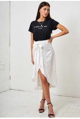 Love Frontrow White Leopard Print Jacquard Satin Wrap Skirt