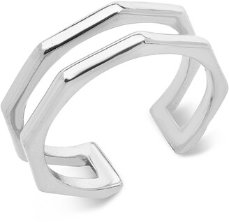 Sterling Forever Geometric Open Band Ring
