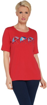 Factory Quacker Embroidered Elbow Sleeve Knit T-shirt w/ Tassel Detail