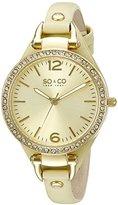 SO&CO New York Women's 5061.3 SoHo Quartz Gold Tone Case Light Green Slim Leather Strap Watch
