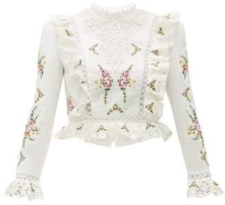 Zimmermann Allia Floral Cross-stitch Linen-blend Top - Womens - White