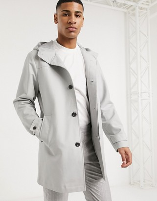 Asos DESIGN hooded trench coat with shower resistance in light gray