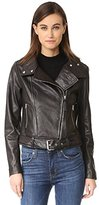 Mackage Women's Hania Lamb Skin Belted Leather Jacket with Metal Hardwear Detail
