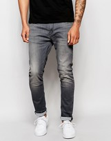 Jack and Jones Super Stretch Washed Black Skinny Jeans