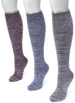 Muk Luks Women's 3-Pair Feather Yarn Knee Socks