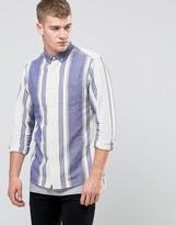 Asos Gradual Stripe Shirt In Ecru