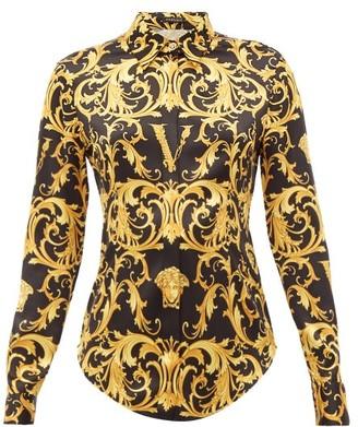 Versace Baroque-print Silk-blend Shirt - Black Gold