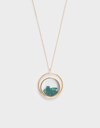 Charles & Keith Pearl Finish Stone Floating Locket Matinee Necklace