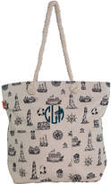 CB Station Totebags Nautical - Nautical Navy Knotted Marine Rope Personalized Tote