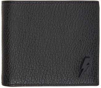 Neil Barrett Black Pebble Lightening Bolt Bifold Wallet