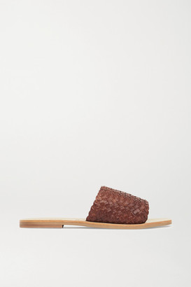 ST. AGNI + Net Sustain Alice Woven Leather Slides - Brown