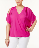 INC International Concepts Plus Size Cold-Shoulder Blouse, Created for Macy's
