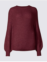 M&S Collection Ribbed Bubble Sleeve Round Neck Jumper