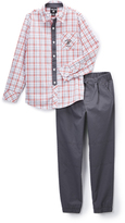 Beverly Hills Polo Club Red Plaid Button-Up & Gray Twill Joggers - Infant Toddler & Boys