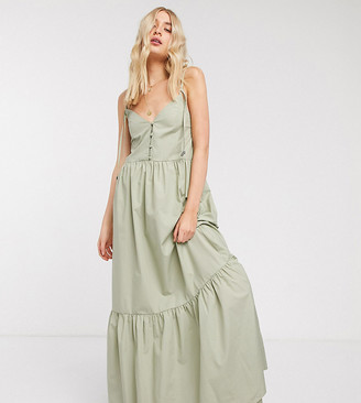Asos DESIGN Tall button through tiered cotton poplin maxi dress in khaki