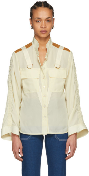 Chloé Beige Patch Pocket D-Ring Shirt