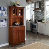 Home Styles Two-Drawer 31.25 in. W Cherry Buffet with Stainless Top and Hutch