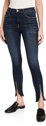 Frame Le High Skinny Split Zip-Hem Ankle Jeans