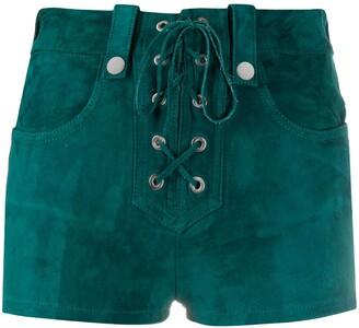 Manokhi Alys lace-up suede shorts
