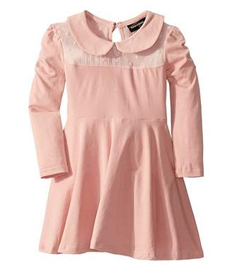 Rock Your Baby Gathered Long Sleeve Waisted Dress (Toddler/Little Kids/Big Kids)
