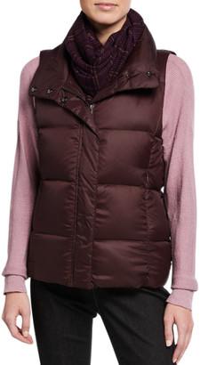 Eileen Fisher Nylon Funnel-Neck Puffer Vest