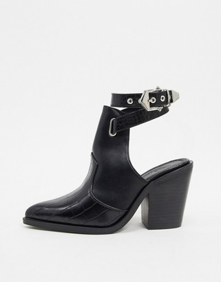 ASOS DESIGN Erase western cut out boots in black