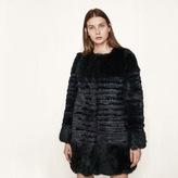 Maje Short striped fur coat