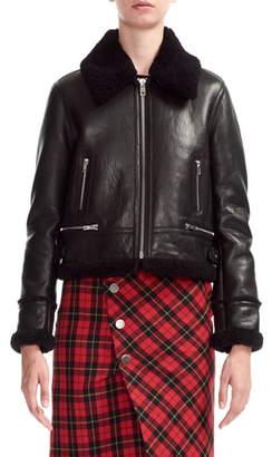Maje Bartonfink Lambskin Leather Biker Jacket with Genuine Shearling Trim