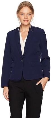 Kasper Women's Petite Size Stretch Crepe 1 Button Notch Lapel Jacket